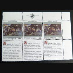UN ONU : Planche de 3 timbres neufs de l'ONU Human Rights article 14