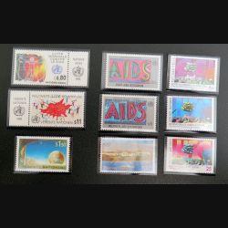 UN ONU : 11 timbres neufs : 6 contre le Sida + 3 centre du commerce international + 2  UN