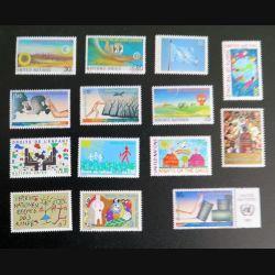 UN ONU : 14 timbres neufs : 6 contre les armes chimiques + 7 sur les droits d'enfants + 1  UN