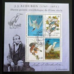 FRANCE : 4 timbres oblitérés sur J.J Audubon 1785 - 1851 ornithologue du 19°