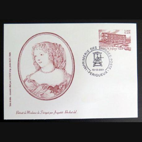 FRANCE : Carte souvenir timbre du Château de Grignan Drôme de Mme de Sévigné 10-12-2001