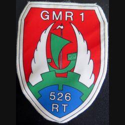 526° RT GMR 1 : insigne tissu plastifié du 526° régiment du train GMR 1 hauteur 13 cm