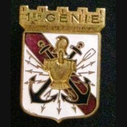 1° RG : insigne métallique du 1° régiment du génie toujours brave de fabrication Drago Paris Nice en émail