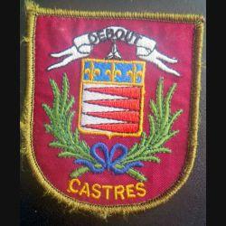8° RPIMA : insigne de jumelage entre le 8° RPIMA et la ville de Castres dimension 7,6 x 8,7 cm sur scratch