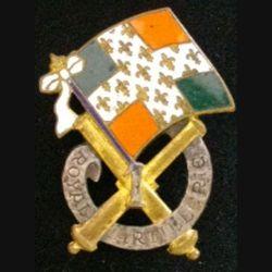 1° RA : insigne métallique du 1° régiment d'artillerie de fabrication Drago G. 881 en émail