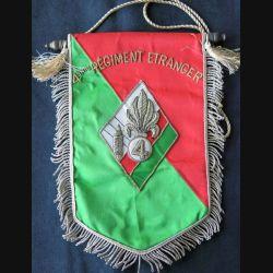 4° REI : fanion du 4° régiment étranger d'infanterie en canetille de superbe fabrication