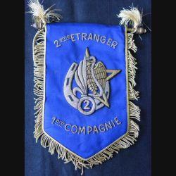 2° REI : fanion de la 1° Cie du 2° régiment étranger d'infanterie en canetille de superbe fabrication