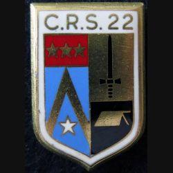 CRS 22 : insigne métallique de la compagnie républicaine de sécurité n° 22 de fabrication Drago Paris