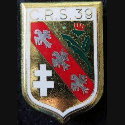 CRS 39 : insigne métallique de la compagnie républicaine de sécurité n° 39 fabrication Drago Noisiel