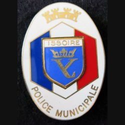 POLICE : insigne métallique de la police municipale d'Issoire fabrication A.B Paris