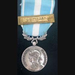 """FRANCE : médaille d'outre mer agrafe """" Liban """" en métal argenté"""