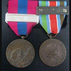"""FRANCE :  médaille de la défense nationale barrette """"Légion étrangère"""" et médaille  FORPRONU barrette """"Sarajevo"""""""