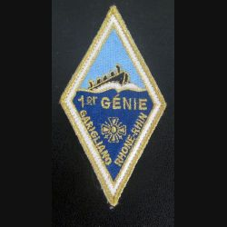 1° RG : insigne tissu du 1° régiment du génie sur scratch de dimension 5 x 9 cm