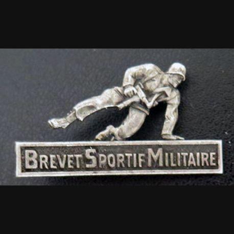 BSM : insigne métallique du brevet sportif militaire de fabrication Drago G. 1469 argenté