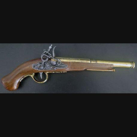 Pistolet de pirate Hadlex 1760 London (reproduction espagnole) en bois et métal (C185-1)
