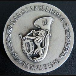 16° BCP : plaque du 16° bataillon de chasseurs à pieds Ramscapelle 1914 Tannay 1940