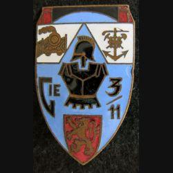 3° BG : insigne métallique de la 11° compagnie du 3° bataillon du génie Arthus Bertrand émail