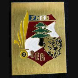 2° REI SER : insigne métallique de la section éclairage renseignement FMSB Beyrouth