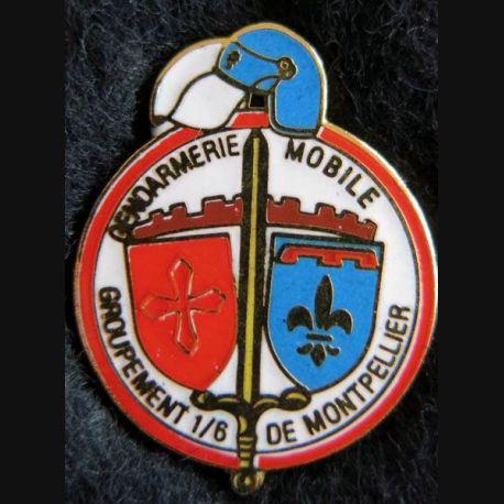 GM GPT 1/6 : pin's métallique du groupement 1/6 de la gendarmerie mobile de Montpellierde la 32 X 26 mm série limitée