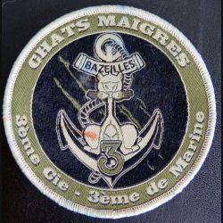 3° RIMa : insigne tissu basse visibilité de la 3° Compagnie du 3° Régiment d'Infanterie de Marine sur scratch