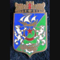 BLASON ALGER : insigne métallique ancien blason en émail de la ville d'Alger 24 x 40 mm