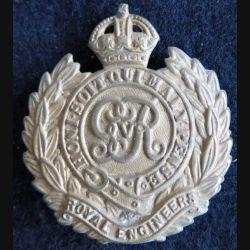 ANGLETERRE : insigne de casquette Royal Engineers armée britannique bronze avec patte