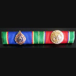 THAILANDE : barrette de rappel de 2 décorations ordre de la couronne et de l'éléphant blanc thailandais