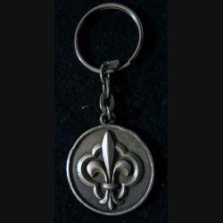 """ROYALISTE : porte clés métallique royaliste """"Vive le roi"""" en métal argenté"""