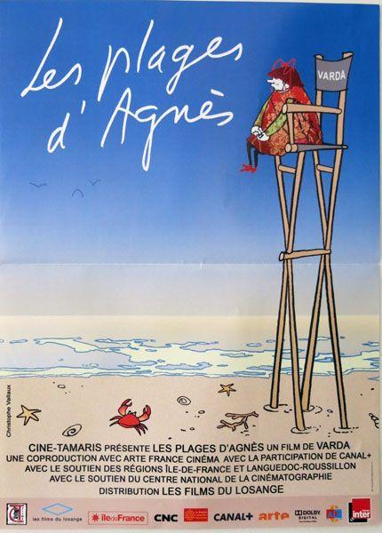 Affiche de cinéma du film Les Plages d'Agnès de 2008 dimension 40 x 53 cm