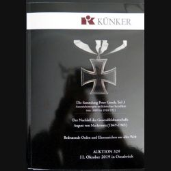 CATALOGUE KÜNKER du 11 octobre 2019 sur les ordres et médailles du monde entier (N1)