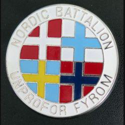 Insigne Plaque du Nordic Battalion UNPROFOR FYROM diamètre 6,2 cm