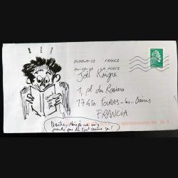 Enveloppe dessinée et annotée par Sylvain Roudet