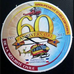 Autocollant du 60° anniversaire du Groupement d'Hélicoptères de la sécurité civile 1957 - 2017