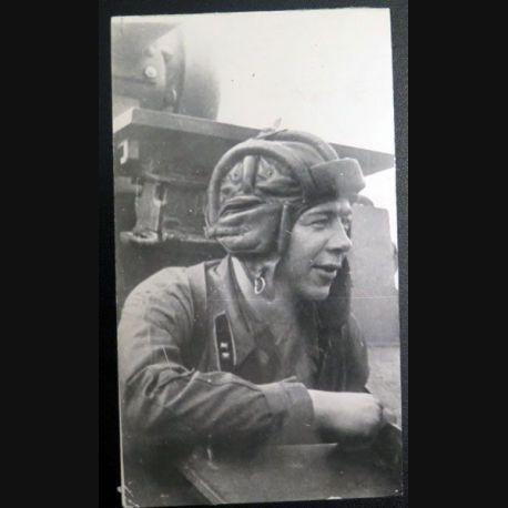 URSS : photo 9,5 x 16,5 cm commissaire politique politruk de 2° classe des troupes blindées soviétiques 1939 (C200)