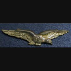AIR : insigne épaulette de l'armée de l'Air charognard en métal doré avec pattes de fixation