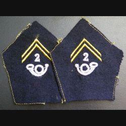 Paire de soutache ( insigne de col ) du 2° bataillon de chasseurs alpins en cannetille