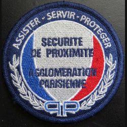 POLICE : insigne de la sécurité de proximité agglomération parisienne sur scratch