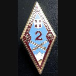 2° RA : insigne du 2° régiment d'artillerie de fabrication Drago Paris H. 194