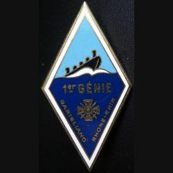 1° RG : insigne métallique du 1° régiment du génie de fabrication Drago H. 209
