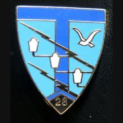 28° RT : insigne du 28° régiment de transmissions de fabrication Pichard H. 208