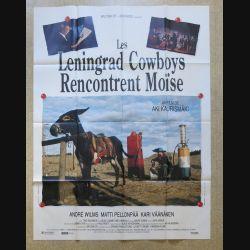 """AFFICHE FILM : affiche """"Les Leningrad Cowboys rencontrent Moïse"""" de 1994 dimension 115 x 158 cm (E030)"""