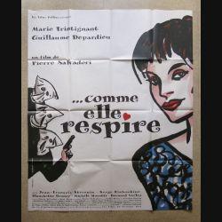"""AFFICHE FILM : affiche de cinéma du film """"Comme elle respire"""" 1998 dimension 115 x 158 cm (E032)"""