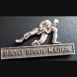 BSM : insigne métallique du brevet sportif militaire  dos guilloché argenté