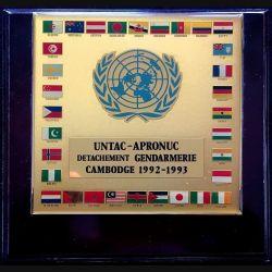 UNTAC APRONUC : Plaque souvenir du Détachement de Gendarmerie au Cambodge 1992-1993