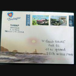 enveloppe Bretagne avec timbres neufs Chambord et DS 19