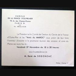 Carte du cercle de la France d'Outre mer invitation réunion des anciens amis du Maroc