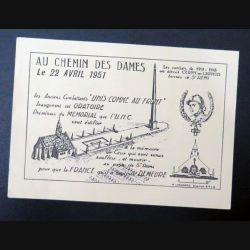 Carte postale au chemin des dames le 22 avril 1951