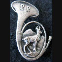 22° BCA : insigne métallique du 22° bataillon de chasseurs alpins de fabrication Drago Paris