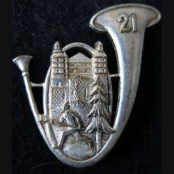 21° BCP : insigne métallique du 21° bataillon de chasseurs à pied de fabrication Drago Paris