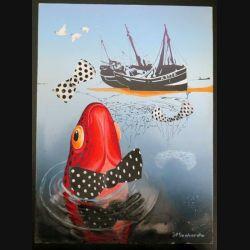 Peinture A4 gouache de Jean Paul Lombardo pêche et noeuds papillons (C201)